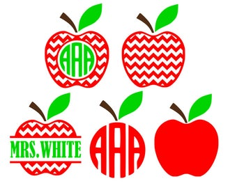 Chevron apple svg, apple monogram svg, back to school svg,apple svg,teacher monogram svg,teacher svg, split apple svg,monogram svg,svg files
