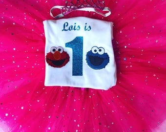 Baby girls birthday outfit with elmo and cookie monster on with pink tutu and tiara headband any age glitter