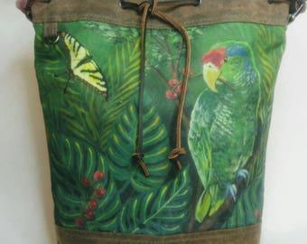 The Diva Crossbody Tote Bag, Waxed Canvas, Canadian Made, 1867Shop, Handmade, Bucket Bag, Parrot, Frida Kahlo