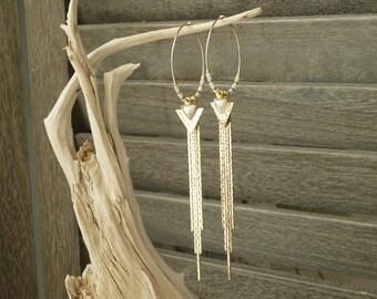 Earrings 14KT gold hoops boho chic howlite