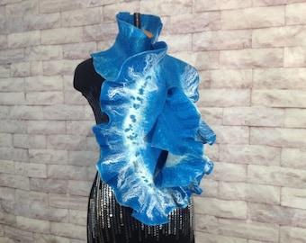 Scarf Felted Pure Wool, scarf neckpiece feltNuno felting scarf, Felted scarf, Handmade felted scarf, Scarf