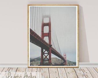 San Francisco Print, Colour Photography,  Golden Gate Bridge, Printable Large Wall Art Poster, Golden Gate Art City Scape