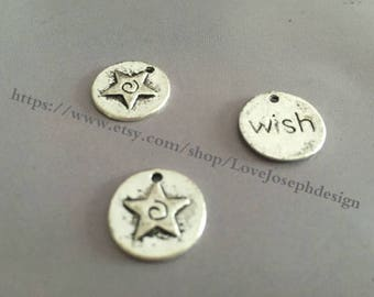 wholesale 100 Pieces /Lot Antique Silver Plated 15mm wish charms (#060)