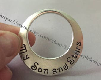 wholesale 50 Pieces /Lot Antique Silver & Bronze Plated 43mm round circle My Sun and Stars ,Moon of My Life Back pendant charms(#0936)