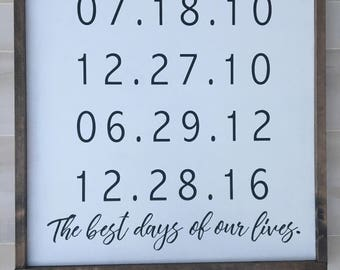 Custom Dates Wood Sign