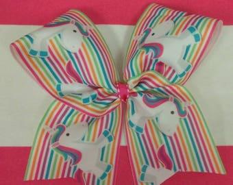 Unicorn cheer bow, rainbow cheer bow, Pony cheer bows, Unicorn hair bow, dance team hair bow, rainbow hair bow