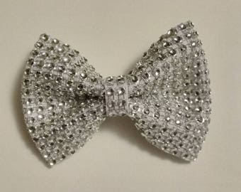 Christmas hair bow, White bling hair bow, Holiday hair bow, Rhinestone mesh hair bow, White hair bow, wedding hair bow, flower girl hair bow