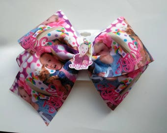 "JoJo Siwa inspired hair bow, JoJo bow, blue hair bow, JoJo headband 7"" hair bow, polka dot hair bow, Dance moms hair bow, Xlarge hair bow"