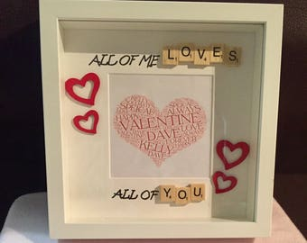 Gifts For him and her|Anniversary Gift Partner |Present| Personalised Scrabble Frame Art