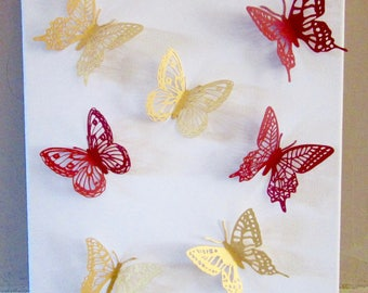 3D painting FLY OF Butterflies red and gold