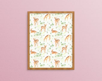 Deer Print - Painting Baby Deer - Watercolor Deer - Deer Painting - Baby Deer Nursery - Woodland Animal - Forest Animal Fawn - Deer Art