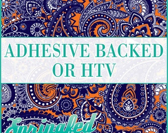 Paisley Pattern #1 in Navy Blue, Orange & White Adhesive Vinyl or HTV Heat Transfer Vinyl for Shirts Crafts and More!