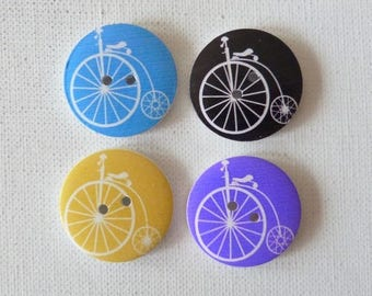 4 round wooden buttons sewing, children, 3 cm VINTAGE bike V scrapbooking