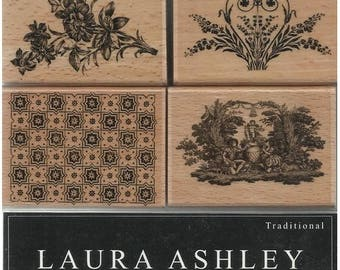 Box of 4 stamps work LAURA ASHLEY flower DECORATION