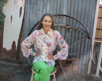 Zora polyester flower print white blouse, 70's, button through