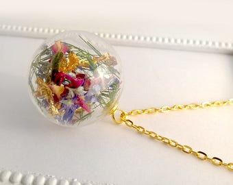 Real flowers * bouquet chain * gold leaf flowers gold (0040)
