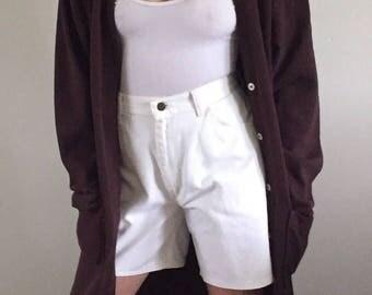 Vintage 90s High Waisted White Denim Wrangler Shorts / White Jean Shorts | size 4 | 27W