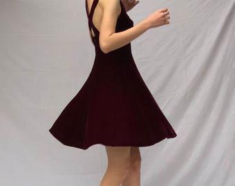 80s Oxblood Velvet Sweetheart Neckline Mini Dress with Criss Cross Straps | XS 2/4