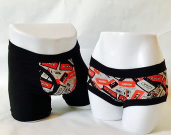 Hipster underwear, music themed cassette tape his and hers matching underwear set, bridal shower gift, second anniversary present