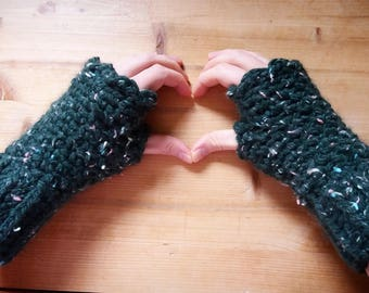 Green Crochet Fingerless Mittens