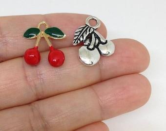 10pcs Enamel Cherry Charm, Charm for Bracelet, Charm for necklace, Wholesale Charms
