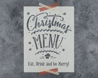 Christmas Menu Stencil - Reusable DIY Craft Stencils of a Christmas Menu