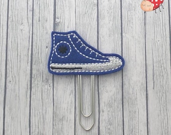High tops planner clip, paperclip, felt paper clip, office supplies, paperwork, embroidered, study, gift, sneakers, planner, journal