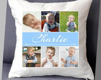 """Personalised photo cushion cover with name 16""""x16"""" (40cmx40cm) gift birthday children child bedroom baby"""