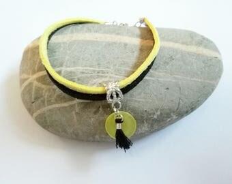 Bracelet yellow and Black Suede sequin tassel ღ ღ ღ