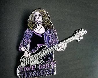 Alana Rocklin - Love Don't Terrorize lapel pin v1 (BLACK NICKEL)