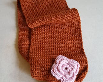 Downloadable crochet pattern for neck warmer with crochet flower gs9