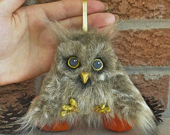 Handmade OOAK Faux Fur Cute Baby Owl Stuffed Animal Art Doll Plush Unique Sculpture One of a Kind Christmas-tree Decoration Stuffed Animal