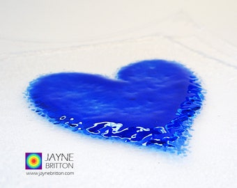 Fused glass indigo blue heart on square clear glass plate, snack plate, altar plate, presentation plate, sweetie bowl, gift of love