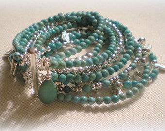 MULTI STRAND BRACELET ... turquoise magnesite