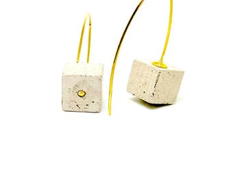 Concrete cube and gold plated silver hook earrings
