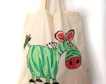 Zebra zebra cotton shopping bag melon watermelon personal bag design sea objects