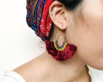 Dark scarlet red,green and yellow half fan fluff tassel hoop earrings gypsy hippie boho style