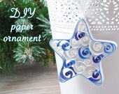 DIY kit star hanging Christmas decoration. Paper ornament, child or adult creative kit, kit for quilling for beginner, choice of color.
