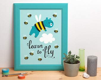 Learn to fly - illustrated poster - 30x40 cm / 12x16 inch - design by Heleen van den Thillart
