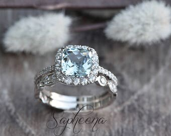 Beau Cushion Cut Aquamarine Engagement Ring Set Of 2 In 14k White Gold, Art Deco  Wedding