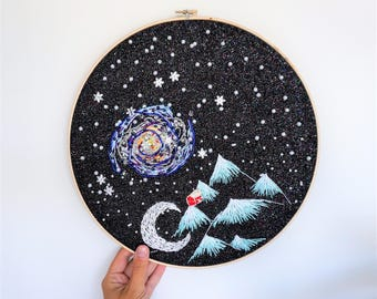 "Night at Home - Handmade Embroidery / Beadwork on 12"" Hoop"