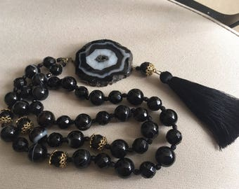Long Necklace-Sotuar with real stones (agate, onyx)/long pendant necklace