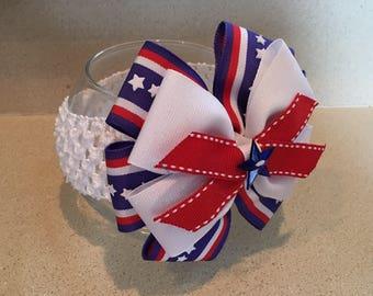 Baby headband. Toddler headband. Handmade bow headband. 4th of July headband.