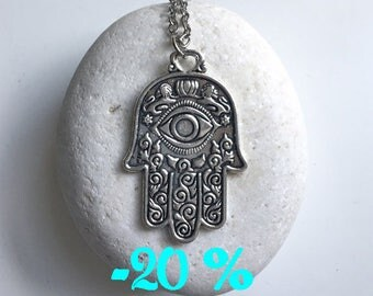 SUMMER SALE / / / boho Hamsa necklace double sided silver