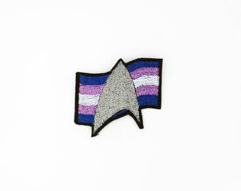 Star Trek Trans Pride Patch, Star Trek Pride Patch, Transexual Pride Flag Patch, Iron on Patch, Iron on Pride Patch, Iron on Trans Patch