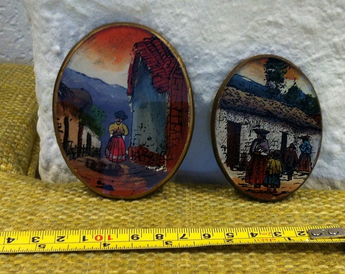 Vintage Peru behind stained glass handmade oval wall decoration
