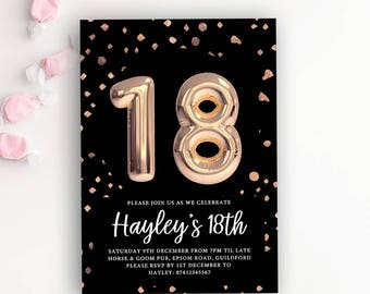 Balloon invite etsy 18th birthday party rose gold balloon printable invitation template 18th birthday invitation stopboris Image collections