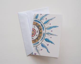 Nature inspired Meditation half Mandala Greeting Card
