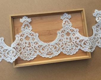 Beige Trim Lace,Lace Trim for Bridal Veil,Wedding Lace Trim,6.69 Inches Wide 1 Yards/ Craft Supplies, WL889