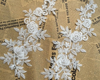 1 pair Bridal Lace Applique Trim Appliques in Off-White  for Weddings,Sashes,Veils,Headpieces, WL869
